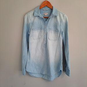 Merona Denim Half button up long sleeved top